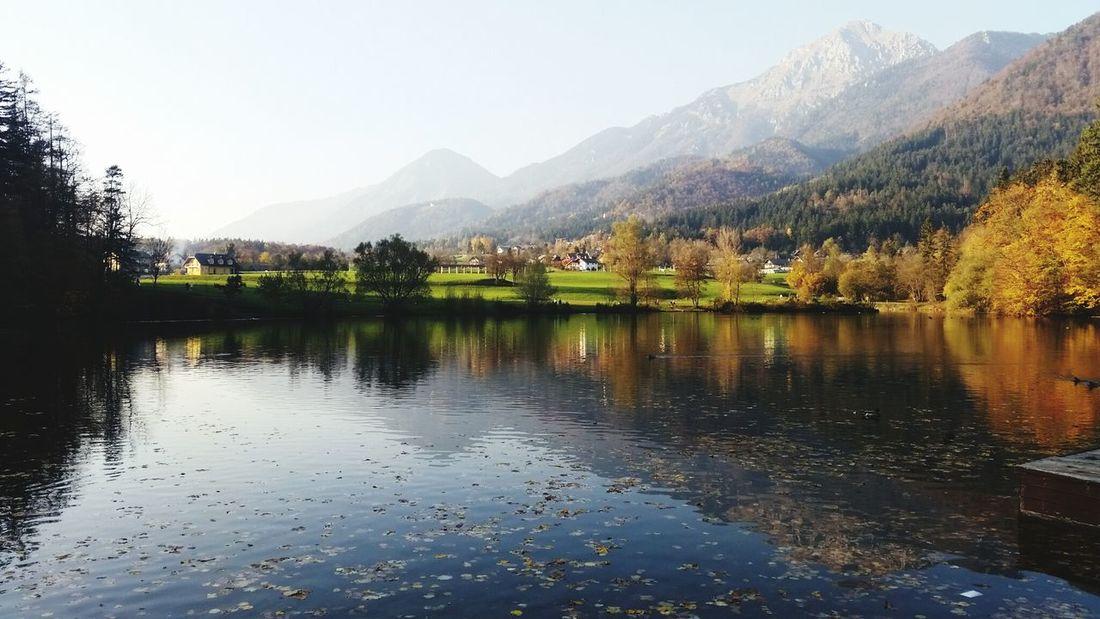 Lake Mountains Nature Slovenia Walking Around Mirror Effect