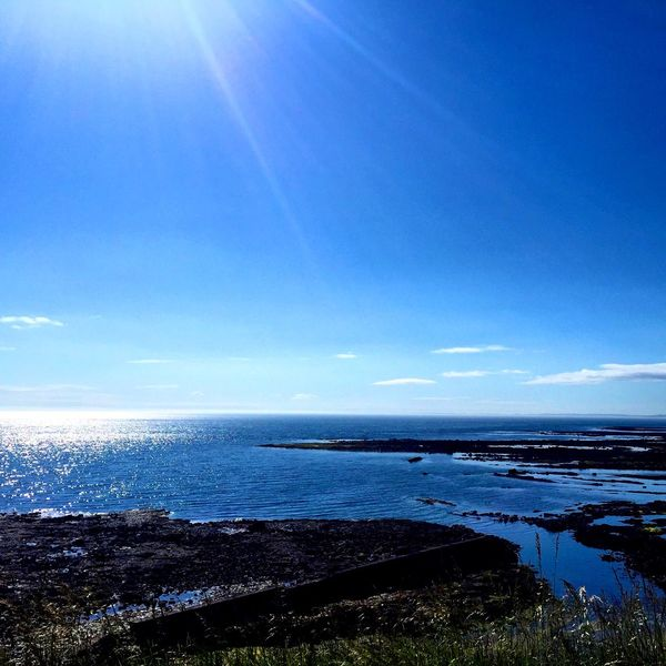Sunny Day Deep Blue Sea Coast Northumberland Relaxing Taking In The View.
