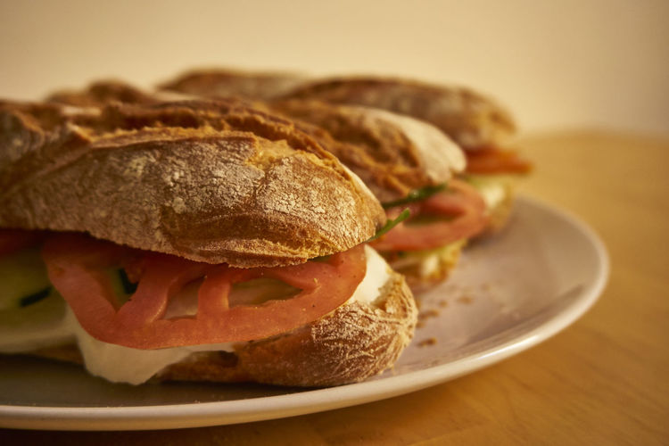 Close-up of sandwiches in plate on wooden table