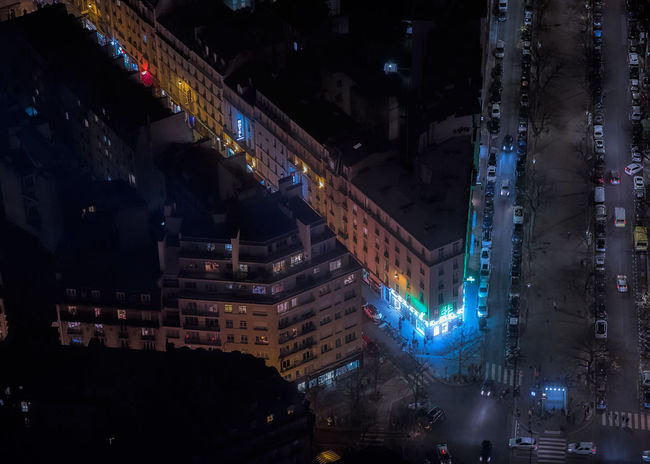 Paris streets from the sky. Dark Darkness France Paris Architecture Building Building Exterior Built Structure City City Street Cityscape darkness and light French High Angle View Illuminated Night Street