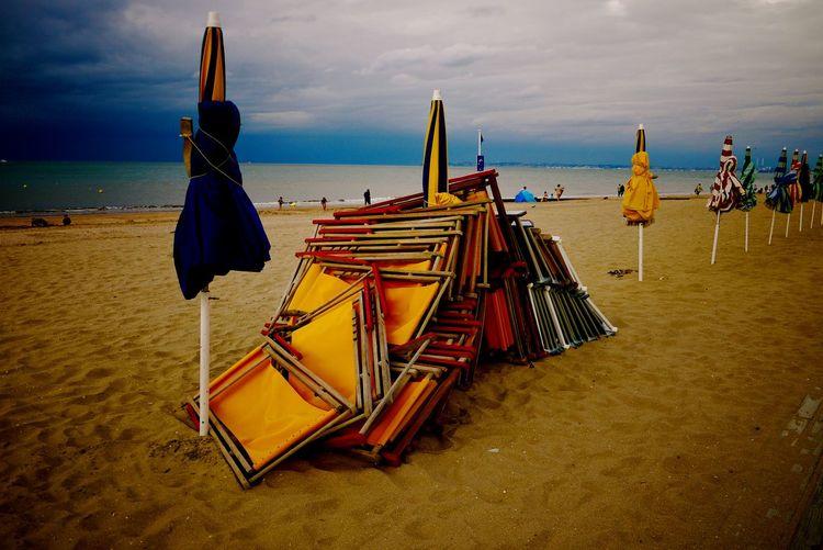 Empty beach Beach Chair Colors EyeEm Nature Lover Outdoors Sand Sea Sunset
