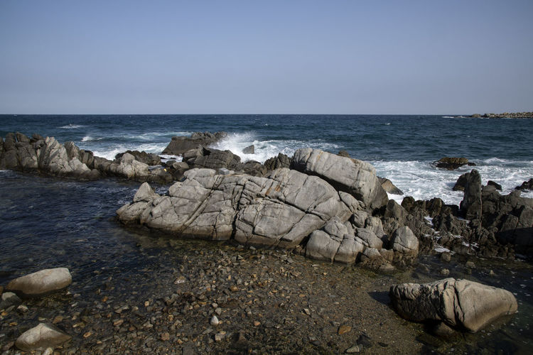 winter sea at Chodo Port in Goseong, Gangwondo, South Korea Sea Water Sky Horizon Scenics - Nature Beauty In Nature Horizon Over Water Nature Motion No People Rock Day Rock - Object Solid Winter Sea Winter Goseong Land Beach Tranquility Rock Formation Wave Outdoors
