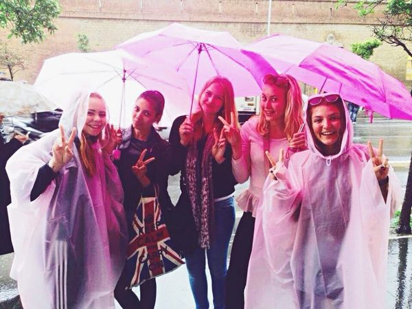 A rainy day in Rome with my girls. We stopped by in a store to buy umbrellas and stuff. All pink ? Europe Pink Umbrellas Friends Girls Italy Swedish