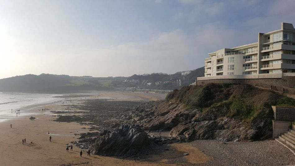 Langland Bay Swansea Gower Beach Beachphotography Wales Sand Architecture Castle Day Outdoors Water No People Sea Travel Destinations Sky Nature Building Exterior PhonePhotography Phone Camera