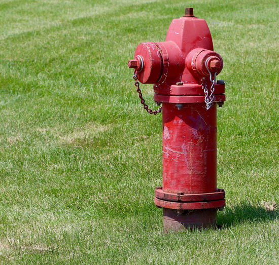 Red fire hydrant on field