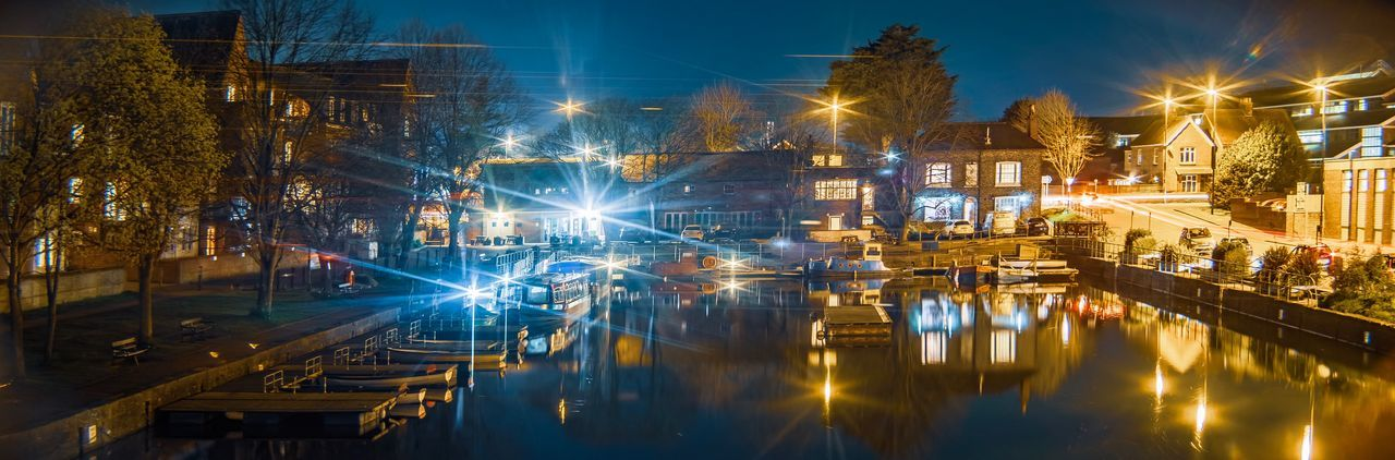 Anamorphic view Anamorphic Lens Anamorphic Illuminated Water Night Architecture Reflection City Built Structure Building Exterior Transportation Sky No People Lighting Equipment Building Nautical Vessel Travel Waterfront Street Light