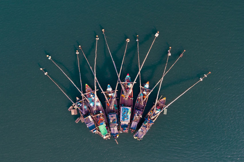 Aerial Shot Bai Tu Long Bay Drone  Ha Long Aerial Photography Aerial View Aerialphotography Boat Day Ha Long Bay Nautical Vessel No People Outdoors Fresh On Market 2017