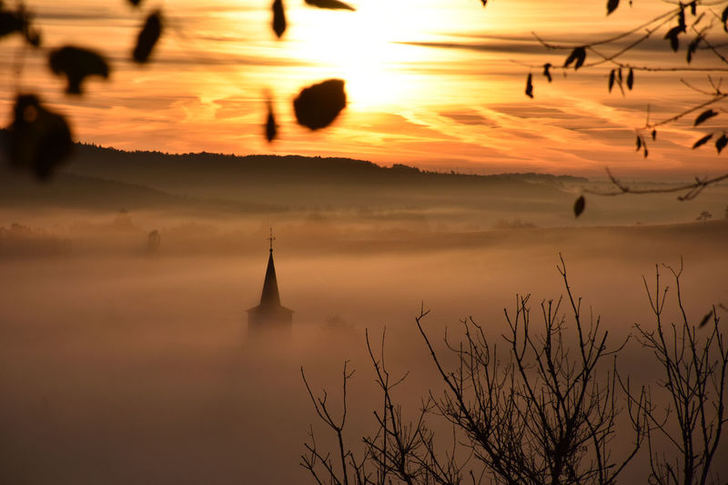 Misty Sunset Autumn Church Eifel Fog Her Landscape Mist Misty Morning Misty Sunset Outdoors Scenics Schalkenmehren Silhouette Sonnenaufgang Sun Sunset Tranquil Scene Tranquility