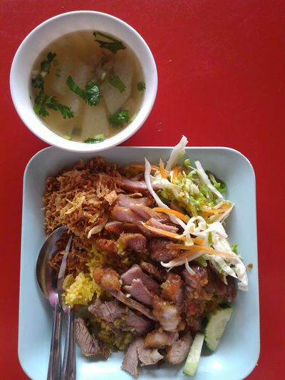 Ready-to-eat Serving Size Food Rice Cooked Spicy Food Fried Pork Soup Yummy