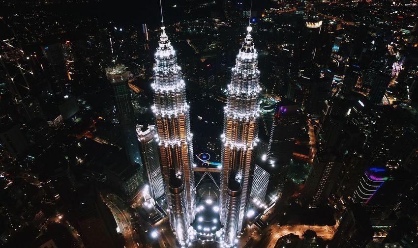 Petronas Twin Tower Architecture Drone  Nightphotography Malaysia Truly Asia Malaysia Kuala Lumpur Klcc Illuminated Lighting Equipment Night Indoors  No People Full Frame Close-up EyeEmNewHere Capture Tomorrow