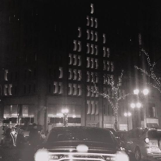 Christmas Time Black And White City Christmas City Lights