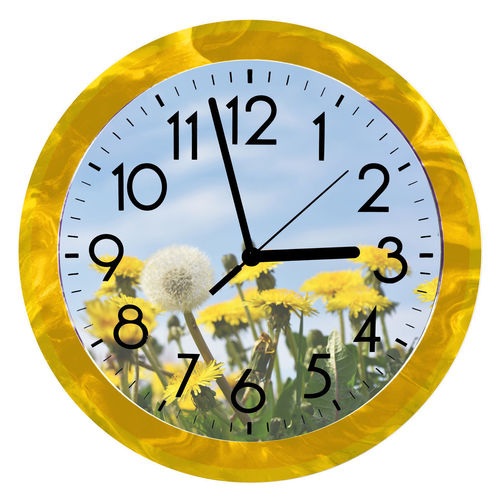 Digital composite image of clock against white background