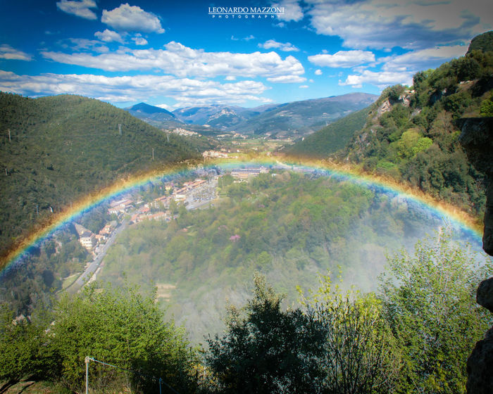 Arcobaleno  Beauty In Nature Canon Cascata_delle_Marmore Cloud - Sky Day Forest Italian Place Landscape Marmore Falls Mountain Mountain Range Nature No People Outdoors Rainbow Scenics Sky Tranquil Scene Tranquility Tree Umbria Water Wide Angle