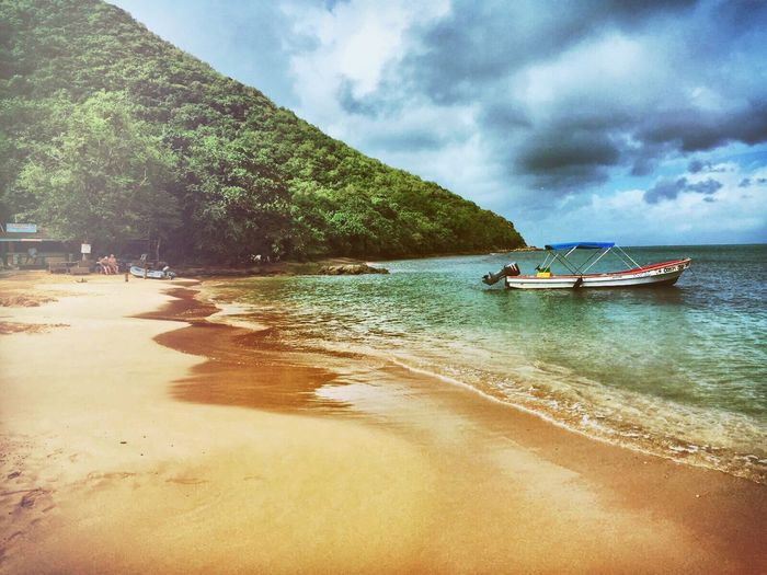 Sea Nature Sky Beauty In Nature Tranquil Scene Scenics Nautical Vessel Beach Cloud - Sky Tranquility Water Outdoors Travel Destinations Day Tree Sand No People Vacations Longtail Boat Outrigger