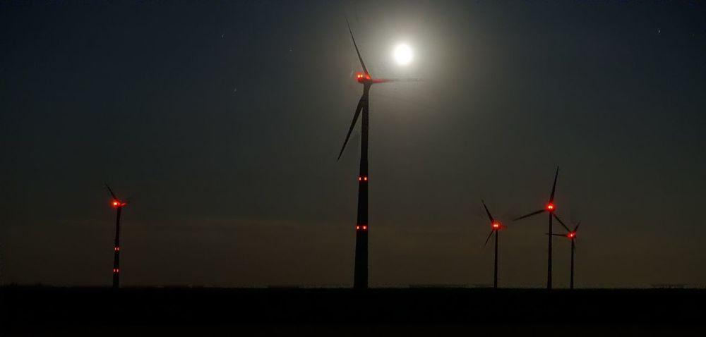 Nightlight Illuminated Lighting Equipment Night Sky Flag No People Nature Technology Red Light Wind Power Alternative Energy Wind Turbine