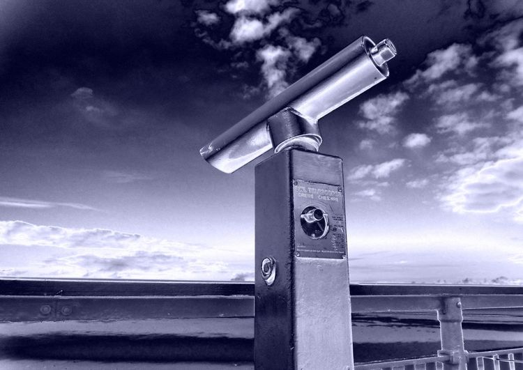 Americano Blue Blue Tint Cloud Formation Distance Flat Horizon Metal Metalic No People No People, Nostalgic  Old Beach Telescope Old-fashioned Pay To View Retro Style Sea Side Nostalgia Sea View Sky Blue Mood Telescope Vision