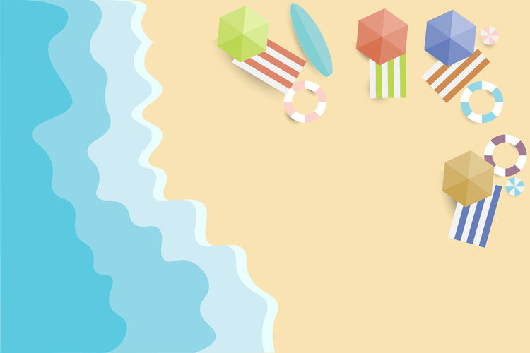 view summer beach and sea background Vector Beach Summer View Top Background Sea Vector Illustration Sand Paper Holiday Design Vacation Style Nature Blue Umbrella Travel Sun Water Seaside Tourism Art Starfish  Cut Indoors  No People Shape Pattern Copy Space Still Life Multi Colored High Angle View Studio Shot Table Creativity Close-up Choice Food And Drink Art And Craft Directly Above Striped Vector Art Summer Views