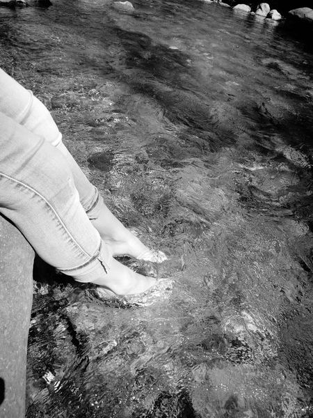 Unwinding. Relax River Flowing Feet Long Pants Gowiththeflow Black And White Friday @Larche, France