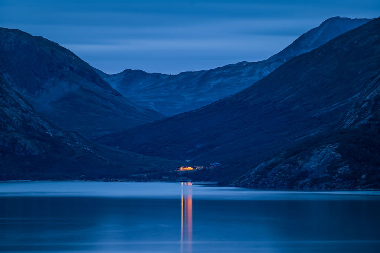Mountain Lodge in the Jotunheimen, Norway Wilderness Outdoors Night Lodge Landscape Twilight Scandinavia Reflection Norway Nightphotography Memurubu Light Jotunheimen Gjende Mountain Water Scenics - Nature Tranquil Scene Tranquility Blue Nature Beauty In Nature Non-urban Scene Idyllic Waterfront EyeEmNewHere A New Beginning Holiday Moments Capture Tomorrow 2018 In One Photograph