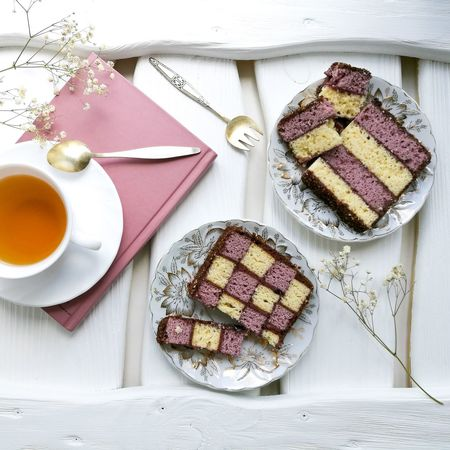 Food And Drink Indoors  High Angle View Food Table Sweet Food Plate SLICE Tea - Hot Drink No People Studio Shot Dessert Drink Freshness Healthy Eating Tart - Dessert Ready-to-eat Day Flower Wood - Material Flatlayphotography Flatlay