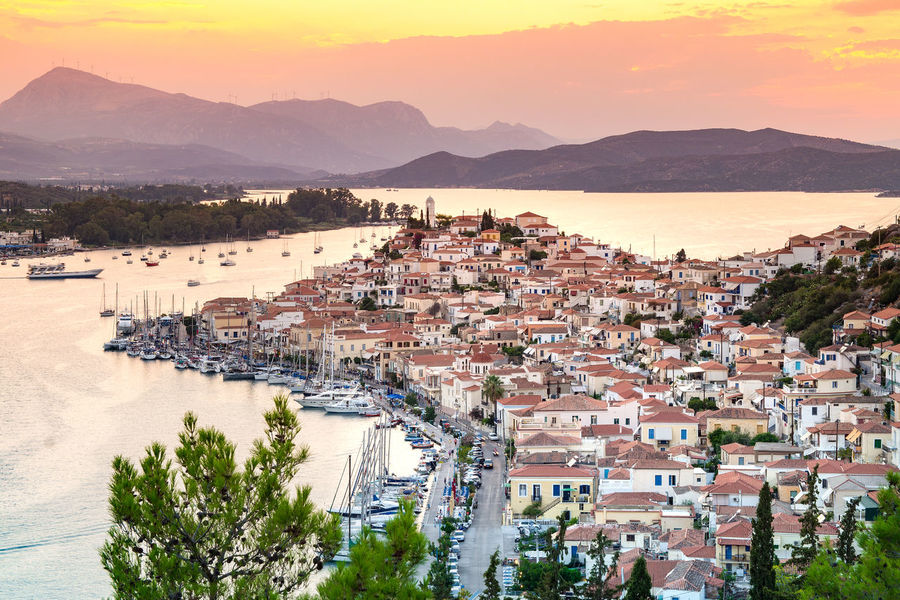 View of Poros city. Poros is a small Greek island in the Saronic Gulf Holiday Mediterranean Sea Panorama Poros Poros Island Saronic Gulf Travel Cityscape Cruise Greece Landscape Mountain Nature No People Sailboat Sea Sky Summer Sunset Tourism Town