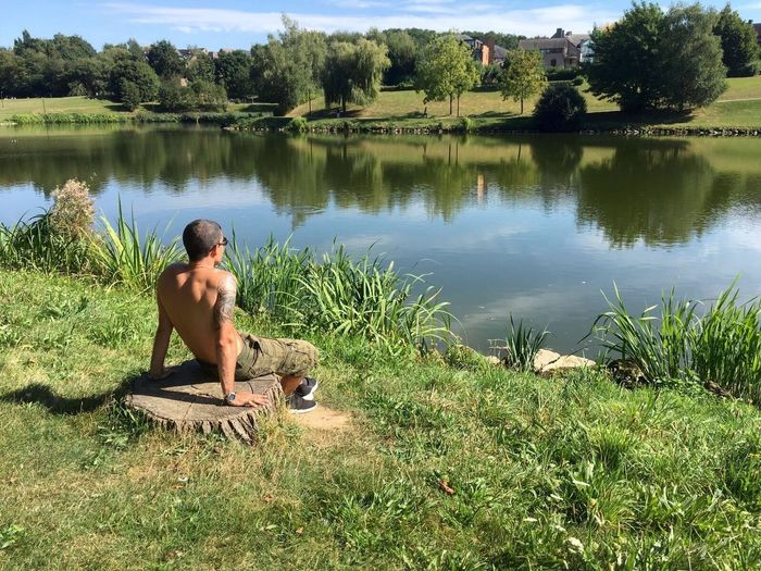One Person Nature Water Grass Full Length Tree Outdoors Young Adult Beauty In Nature Belgium Louvainlaneuve Sun Sky Thinking First Eyeem Photo