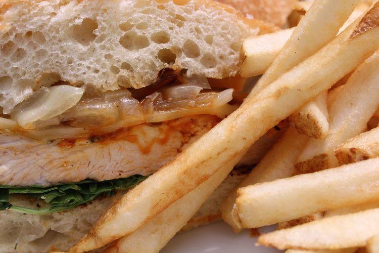 Detail shot of hamburger and fries