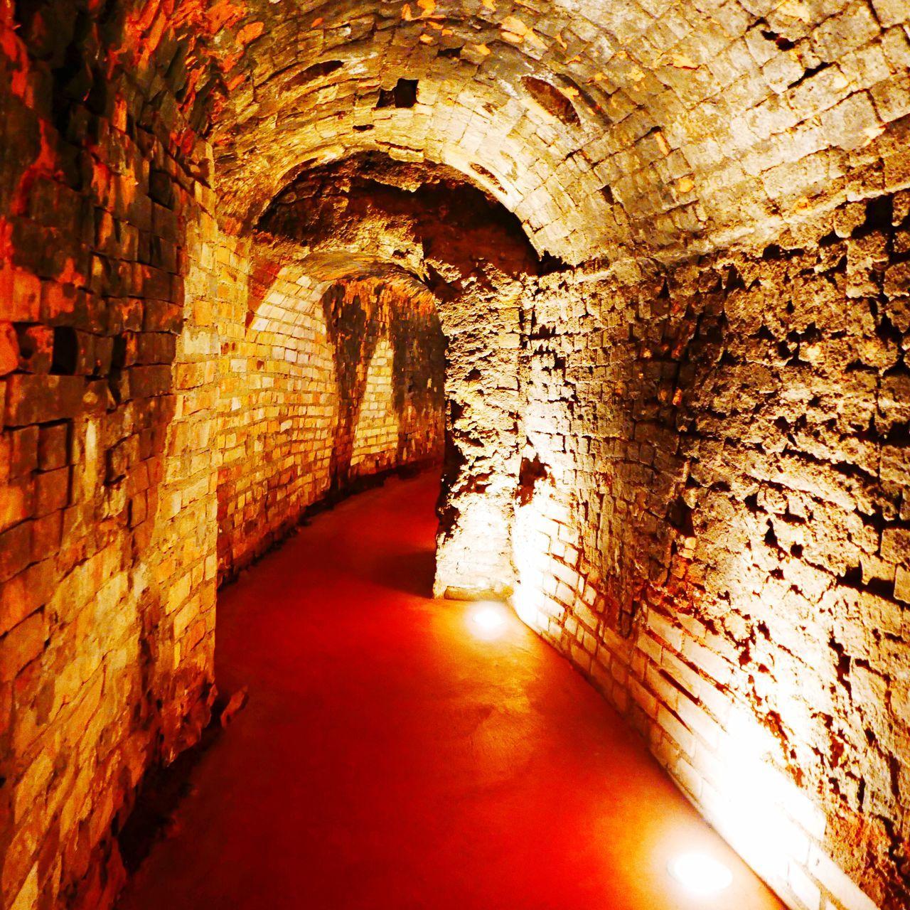 Illuminated Tunnel In Kunsthalle Ziegelhutte