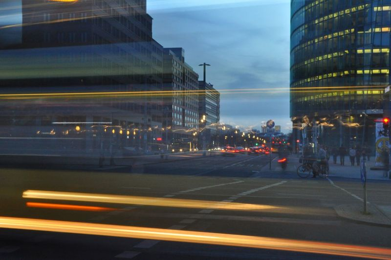Moving Traffic Blue Hour Dusk Dusk In The City Potsdamer Platz Berliner Ansichten Berlin Photography In Motion Cities At Night