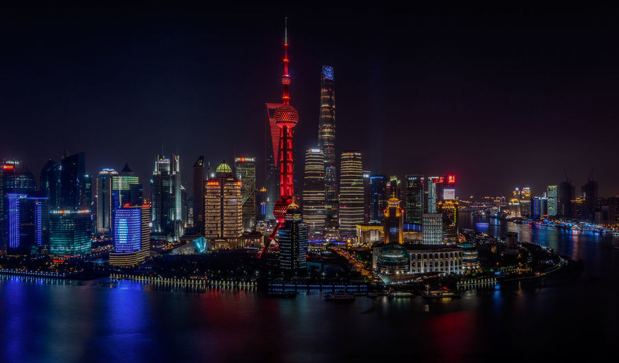 The Bund, Shanghai at night Building Exterior Night Architecture City Illuminated Office Building Exterior Built Structure Building Skyscraper Landscape Water Urban Skyline Cityscape Waterfront Modern Tower No People Financial District  Nightlife Reflection Shanghai The Bund