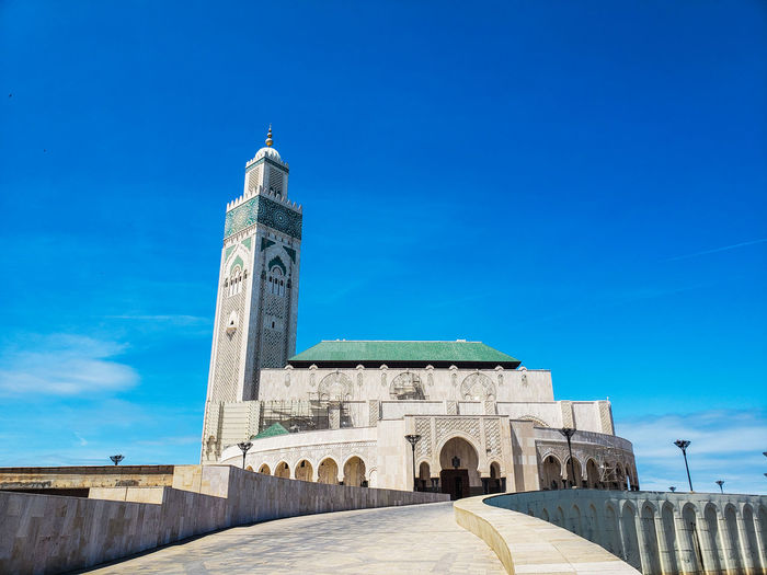 Low angle view of hassan ii mosque - casablanca, morocco