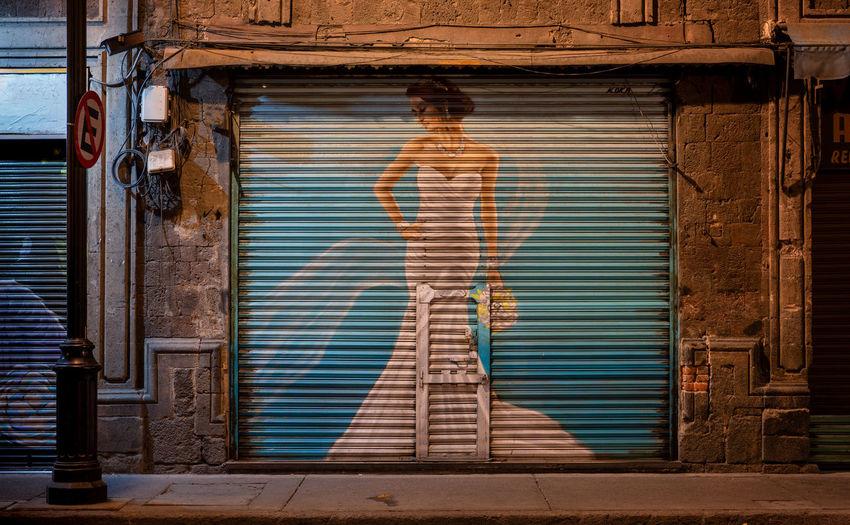 Full frame shot of closed shutter of door