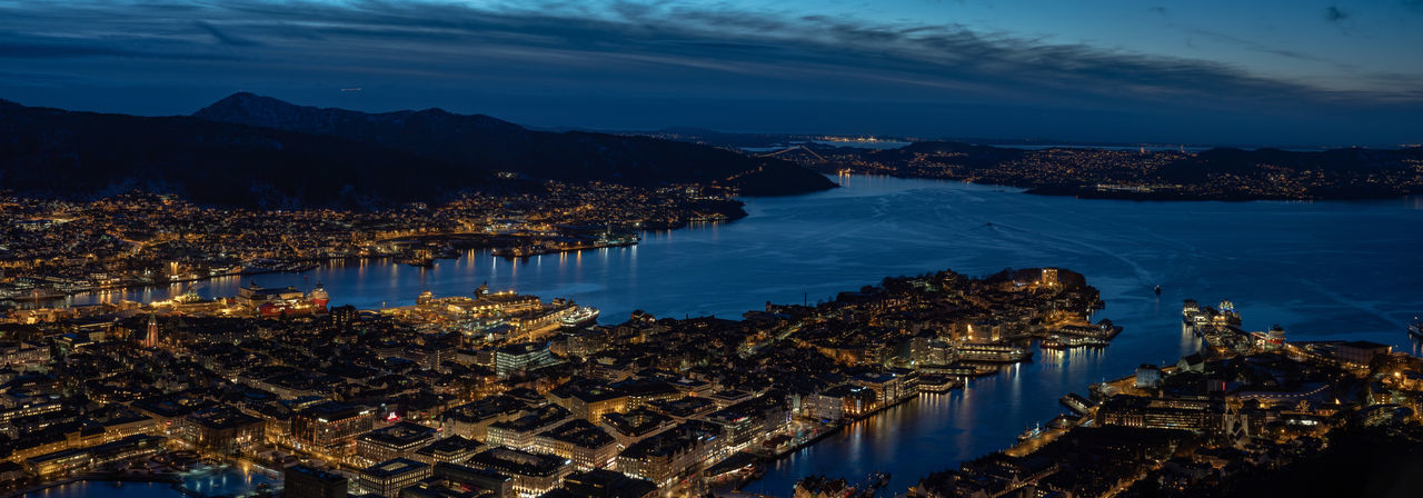 Night over Bergen. Nightphotography Night Night Shot City Cityscape Mountain Fjord Fjordsofnorway Long Exposure High Angle View Olympus