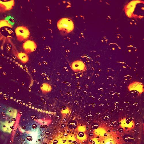 raindrops on my unbrella Rain Raindrops Night Lights Rainy Night