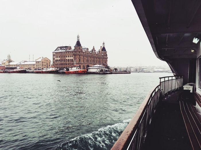 Haydarpasa terminal against clear sky seen from ferry