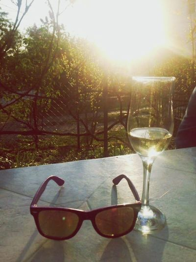 Sunlight Lens Flare Sunglasses Sunset Sunbeam Wineglass Back Lit No People Sun Wine Outdoors Drinking Glass Day Alcohol Water Drink Eyeglasses  Sky Nature