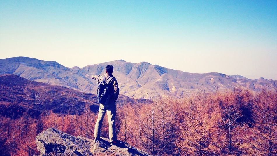 Adventure in the Mountain of Stone Columns. 12. Henry Ying County Shanxi Province Mountains Adventure Back Autumn On Top Of The World Trees Pinetrees Bag