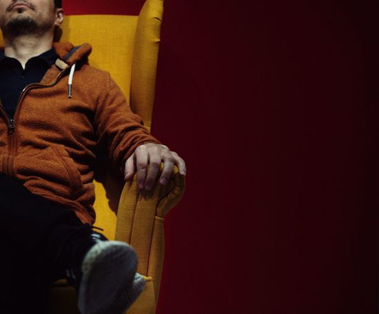 Sitting Sitting On A Chair Chair Yellow Red People One Person One Man Only Men Personal Perspective