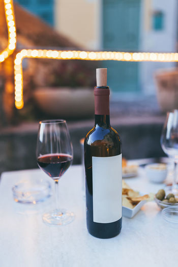 Close-up of wine on table