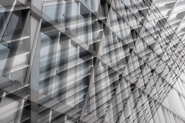 Double Exposure Image Of Modern Buildings In City