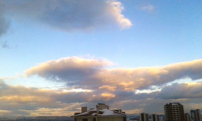 Pink Clouds Blue Sky Winter Aşkgökyüzünde