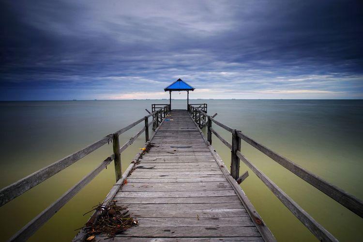 toward to the sea #Sunrise #Nature  #bluesky Water Sea Beach Lighthouse Sand Summer Horizon Lifeguard  Jetty Lifeguard Hut Boardwalk Footbridge Bridge - Man Made Structure