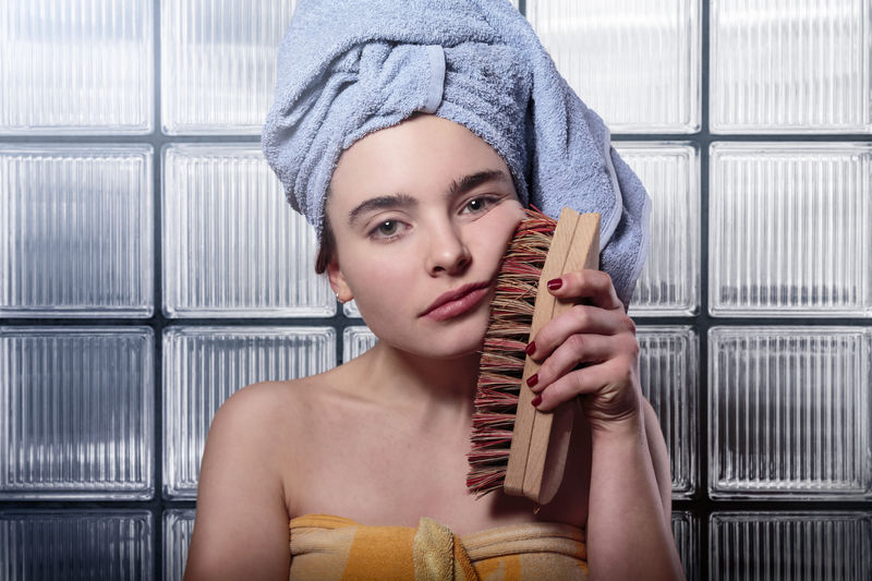 Bath Beautiful Brush Caucasian Cleaning Female Frustrated Fun Interior Joke Parody Portrait Sad Scrubbing Skin Teen Teenager Towel Woman Young