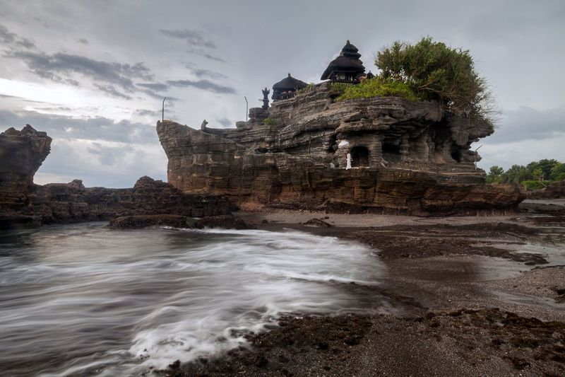 View of tanah lot rock formation