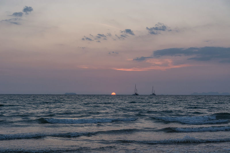 Sunset_collection Thailand Beauty In Nature Cloud - Sky Horizon Horizon Over Water Koh Lanta Mode Of Transportation Nature Nautical Vessel No People Sailboat Sailing Scenics - Nature Sea Sky Sunset Sunsets Tranquil Scene Tranquility Transportation Water Waterfront