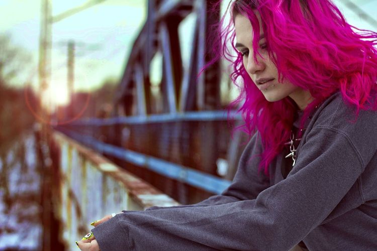 Portrait People Girl Pink Hair Pink Emotive