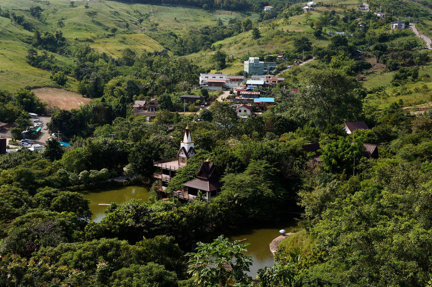 town front of the hill in Thailand Background Beautiful Abstract Art High Angle View Outdoors Tree Day Field No People Green Color Growth Nature Rural Scene Scenics Beauty In Nature Landscape Water Architecture Terraced Field