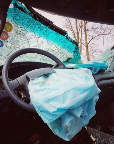 Windshield Airbag Deployed Deployed Accident Close-up No People Day Outdoors Art And Craft Nature Creativity Fragility Transportation