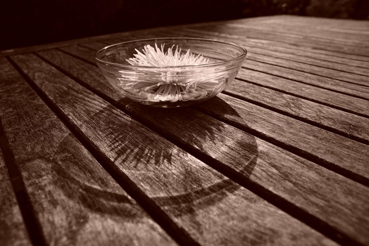 Close-up of water on table