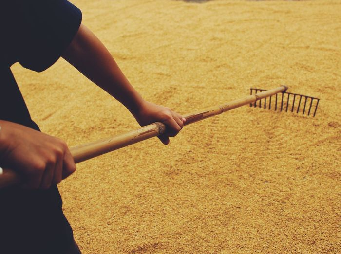 Close-up of person raking sand
